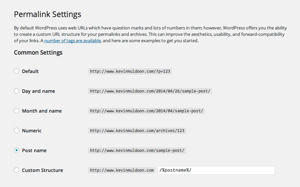 wordpress permalink settings in admin
